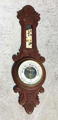Antique Lufft German Oak Barometer Weather Station Parts Restoration