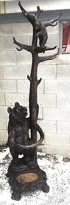 Antique Black Forest Carved Bear Hall Tree