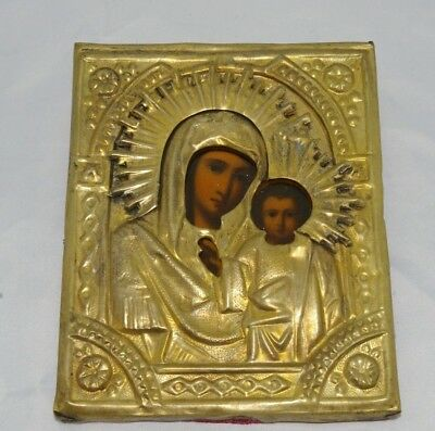 Antique icon of the Virgin in a brass frame of the middle of the XIX century
