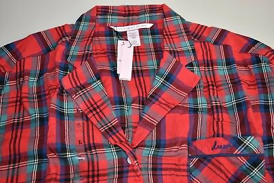 34531b3c55a New VICTORIA S SECRET Flannel Top Shirt Red Green Plaid Christmas TOP ONLY  XS