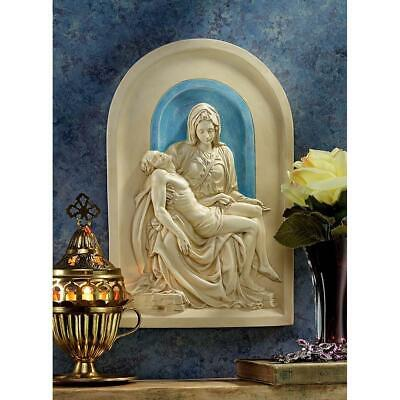 "11"" Italian Vatican Pieta Lunette Religious Wall Sculpture Statue Inspired By..."