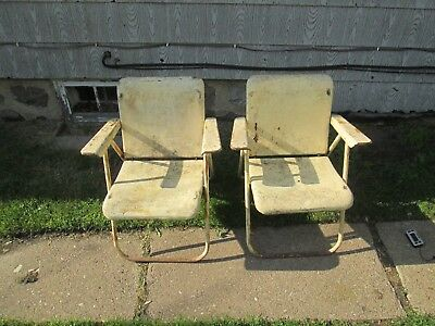 2 Vintage Russel Wright Sampson Mid Century Folding Metal Lawn Chairs