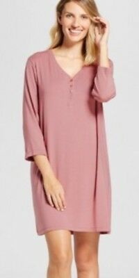 7363443eef5 NEW Gilligan O'Malley Soft Long Sleeve Henley Pajama Nightgown ~ Rose Color  XS