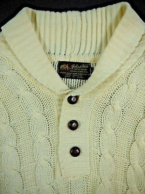 VINTAGE 70s JOHN BLAIR MENSWEAR mens L shawl collar sweater cable knit acrylic