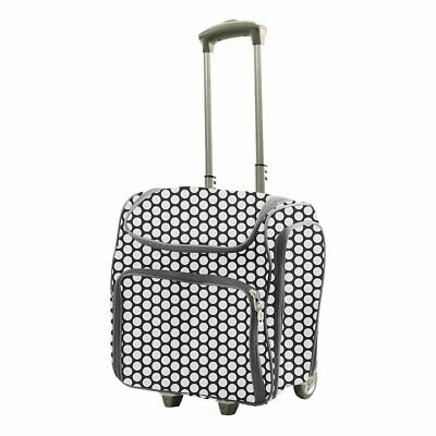 Rolling Craft Tote - White Spots