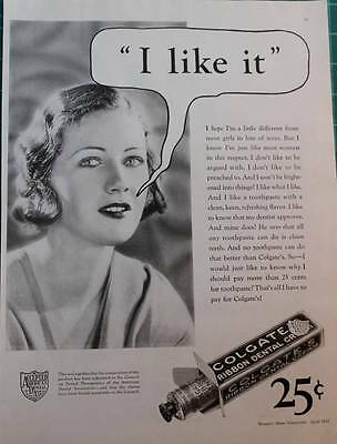 Vintage ad Colgate Dental Cream I Like It! Great photo Flea Market Chic