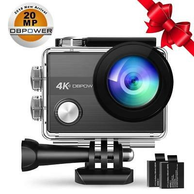 4K Action Camera 20MP WiFi Ultra HD EIS Sports Cam 170 Degree Wide-Angle Lens