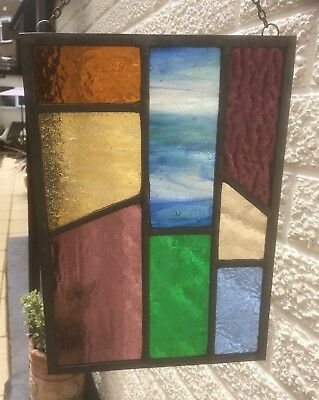 Leaded Stained Glass Panel Suncatcher Wall Hanging - Abstract 28cm x 20cm L006