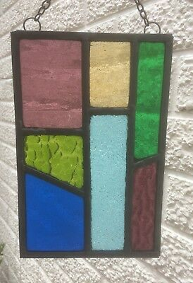 Leaded Stained Glass Panel Suncatcher Wall Hanging - Abstract 20cm x 13cm L005