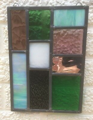 Leaded Stained Glass Panel Suncatcher Wall Hanging - Abstract 28cm Mirrored L007