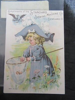 Antique Victorian Standard Sewing Machine Co. Trade Card, Butterfly & Lil Girl