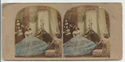 Stereo Stereoview Tinted Genre Mysteries of Crinoline London LSC 1850er