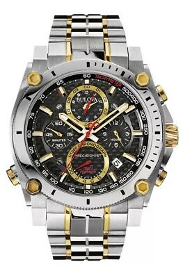 Bulova Precisionist Men's 98B228 Chronograph Black Dial Two-Tone 46.5mm Watch