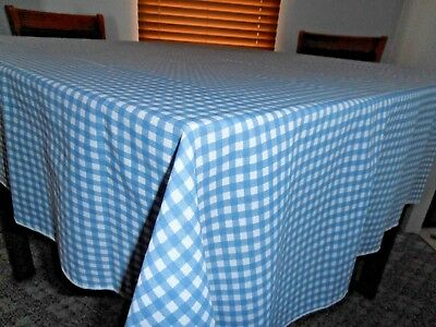 "Vintage 72 x 58"" rectangle Blue white gingham fabric print country tablecloth"