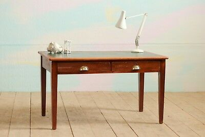 Vintage Industrial Mid-Century Oak Military Ministry Office School Writing Desk