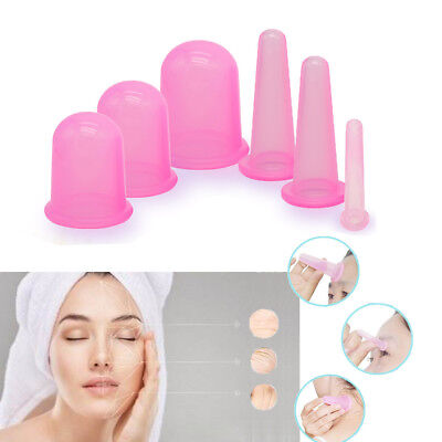 6 Medical Silicone Massage Cupping Vacuum Cellulite Therapy Body Facial Eye Cups