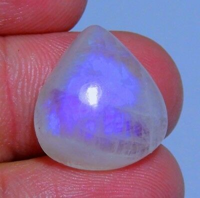 13 Ct  Ring Size Natural Blue Fire Rainbow Moonstone Pear Cabochon Gemstone B310