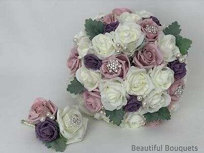 79bab0c84 Wedding Bouquets Flowers Ivory Pink Brides Posy Bridesmaids Flower girl wand