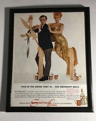 1966 Woody Allen Monique Van Vooren Framed 8x10 Photo Smirnoff vintage print ad