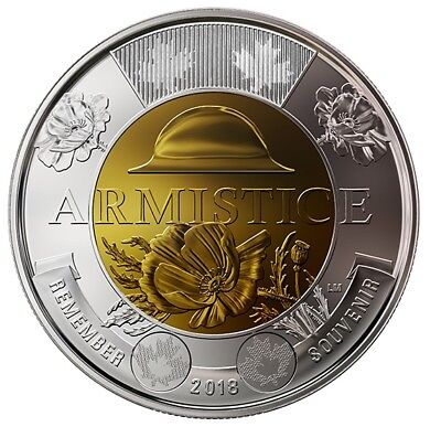 1918-2018 100th Anniversary Armistice Toonie $2 NO-Color Coin from Mint Roll