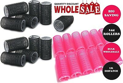 144 Plastic Hair Rollers Curlers Pro Self Grip Pink & Black Small & Medium BULK