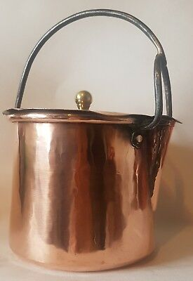 Vintage Victorian English copper dovetailed gravy hot water carrier pot jug