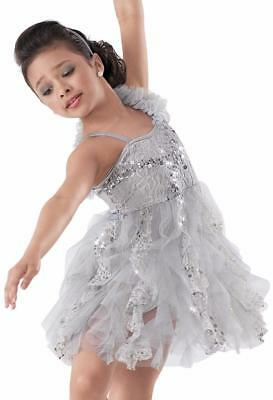 Dance Costume Large Child Gray Lace Lyrical Ballet Contemporary Solo Competition