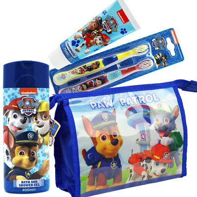 Paw Patrol Kids Children Toothbrush Twin Toothpaste & Bath Shower Gift Bag Set