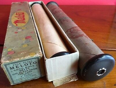 Two Antique Pianola Player Piano Rolls - Boxed Meloto & One Other