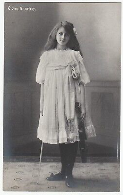 RARE Real Photo - Child Prodigy Musician Violin - Vivien Chartres - 1905 RPPC
