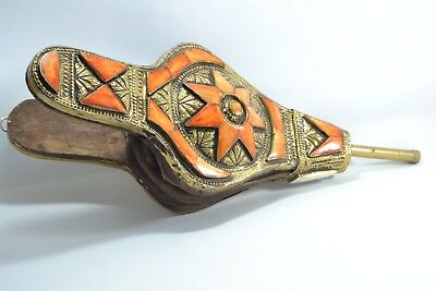 Arabic copper handmade art moroccan wooden air blower engraved with camel bone
