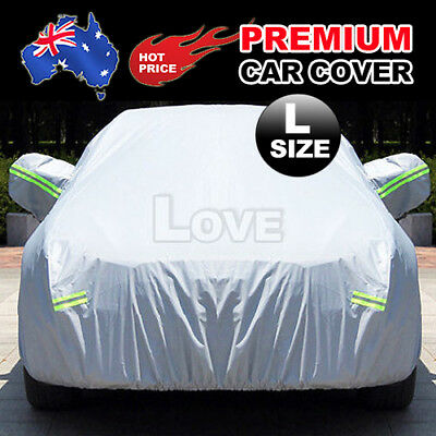 Large Aluminum Waterproof Outdoor Car Cover Double Thick UV Rain Dust Resistant