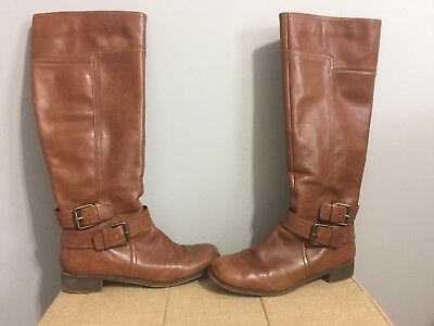 f5a63acb5fe Nine West Blogger Boot - Tan Leather - Knee High Riding Boot Buckle Size 6M