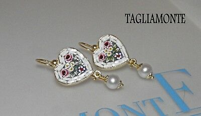 TAGLIAMONTE(886)Earrings*YGP925*Lovely Heart Floral Micro-Mosaic+Pearl Dangle