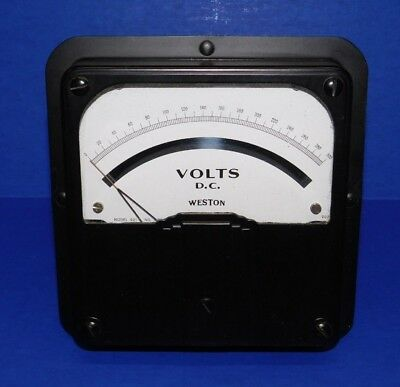 "LARGE NOS Vintage 6.5"" Weston Voltmeter Model 921 Panel Meter 300 Volts DC Gauge"