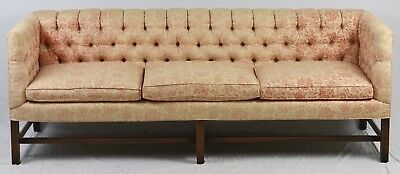 KITTINGER Mahogany Sofa with Tufted Peach Floral Upholstery
