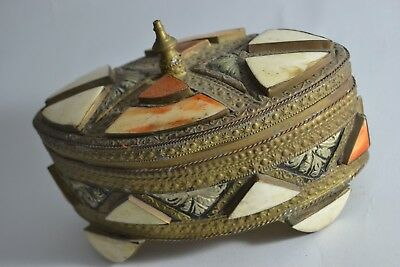Old camel bone copper box islamic rare art fine engraved arabic handmade artisan