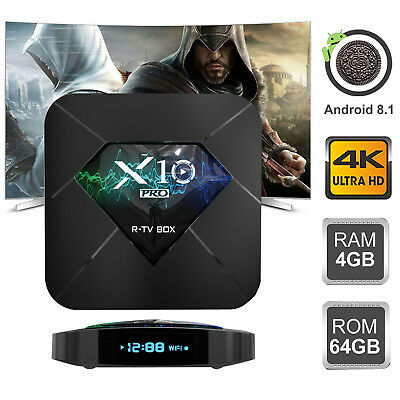 New 4+64GB DDR4 X10PRO Android 8.1 Oreo Smart TV Box 4K Dual WIFI HDMI USB H.265