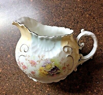 ANTIQUE PORCELAIN CREAMER Hand Painted FLOWERS GOLD Rim BLUE PINK