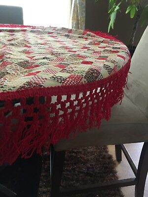 RED FRINGED Quilted Fabric  Round RETRO Tablecloth 43'' Country Chic Vintage
