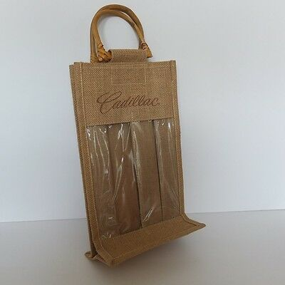 Cadillac logo Vino-Sack two bottle wine carrier bag—jute with wooden handles—NEW