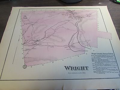 Antique - Wright Township  Pennsylvania Map 1873 W Business Notices Sheet