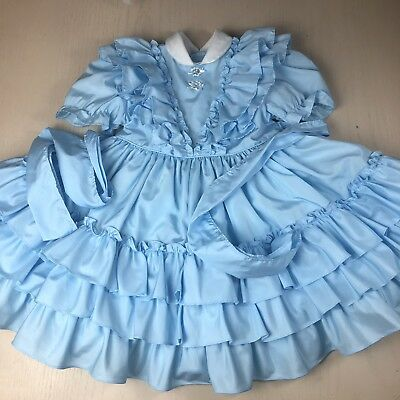 Vintage Martha's Miniatures Blue Ruffle Party Dress Girl's 6 Twirl Satin Pageant