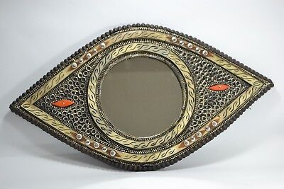 Arabic mirror Fine wooden islamic glass engraved with old rare real camel bone