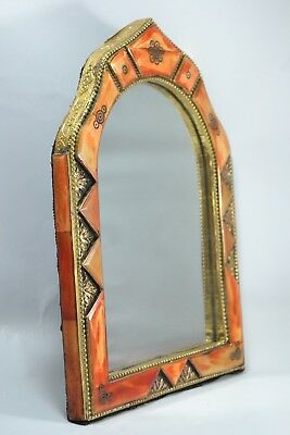 Fine mirror glass engraved copper with real camel bone covered in arabic henna