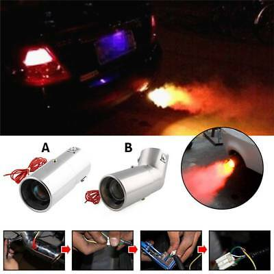 Universal Car Spitfire Rear End Exhaust Pipe Muffler Tip LED Red Light Flaming