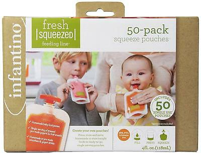 Infantino Squeeze 50 Fresh Food Pouches Set Baby Feeding NEW
