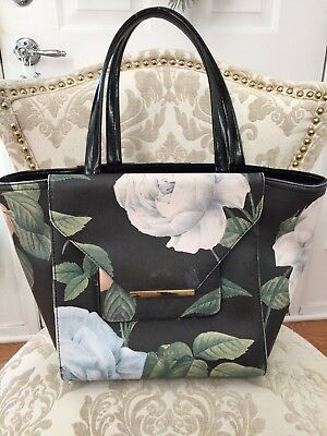 f2b89889807b TED BAKER LARGE Black Leather Tote Floral Print Front Flap Pocket ...