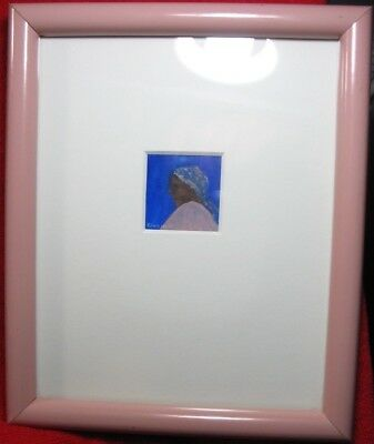 Original oil painting portrait Signed LANE PALMISANO of a Black Woman with scarf