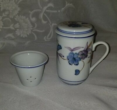 Asian Teacup With Infuser and Lid Flower Design